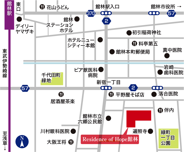 Residence of Hope館林 近郊図