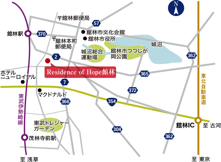 Residence of Hope館林 広域図